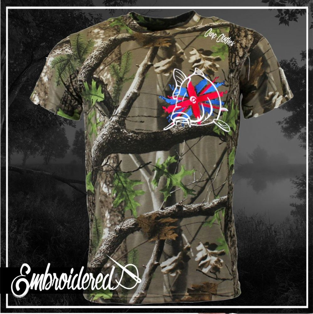 011 EMBROIDERED TREE CAMO T SHIRT